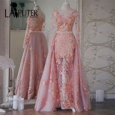 Robe de Soiree - Appliqued, See-Through Sexy Evening Dress with Removable Train (Choose your favorite color) Dress Brukat, Kebaya Dress, Dress Pesta, Beautiful Evening Gowns, Sexy Evening Dress, Evening Dresses, Kebaya Wedding, Muslimah Wedding Dress, Prom Party Dresses