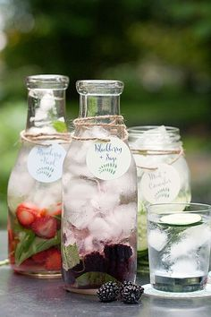 Flavored Waters with tags and coasters from Evermine- Mint + Cucumber Strawberry + Basil Blackberry + Sage (fruit infused water) Detox Drinks, Healthy Drinks, Healthy Water, Healthy Detox, Bbq Drinks, Diet Detox, Beverages, Digestive Detox, Lemon Diet