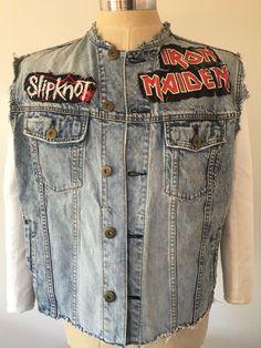 Metallica Iron Maiden Slipknot Mens Biker Heavy Metal Distressed Denim Vest XL in Clothing, Shoes & Accessories, Men's Clothing, Vests   eBay