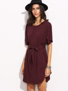 Burgundy Self Tie Curved Hem Dolman Sleeve Dress