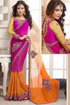 Magenta, Cream, Orange Georgette Designer party wear saree
