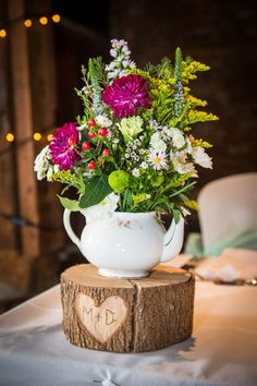 Tea Pot Flowers Log Stand Engraved Centrepiece Quirky Crafty Tea Infused Wedding http://jamesgristphotography.co.uk/
