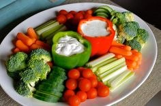 Healthy vegetable platter. Perfect for hosting parties!