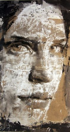 Max Gasparini, distressed cardboard mixed media portrait with dry brush technique