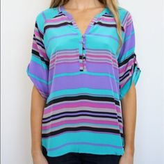 Yumi Kim silk blouse Blouse from designer Yumi Kim. Teal, purple, pink and grey stripes. Buttons on rouched sleeves and down neck. Like new condition. 100% silk. Purchased from Yumi Kim flagship store in the Lower East Side, NYC. Yumi Kim Tops Blouses