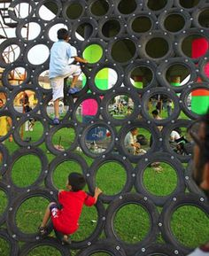 The possibilities for incorporating old tires into playground structures are almost endless