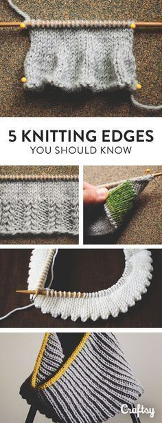 Are you a knitting know it all? Double check you basic know-how as we explore 5 different knit edge techniques that every knitter ought to know Knitting And Crocheting, Bind Off Knitting, Knitting Help, Knitting Stiches, Vogue Knitting, Knitting Stitch Patterns, Knitting Yarn, Knitting Needles, Baby Knitting