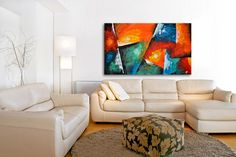 Original acrylic green blue Painting,large abstract painting by Modizart on Etsy