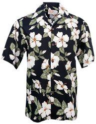 *Go Barefoot - Hibiscus - Hawaiian Aloha Shirt - Black