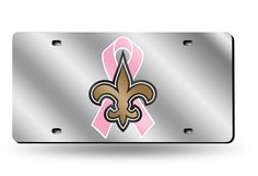 New Orleans Saints BCA (Breast Cancer) Silver Laser Etched License Plate/Tag