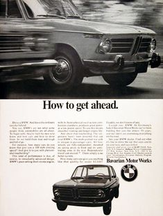 1969 BMW Coupe original vintage ad. How to get ahead. Prices start at $2,597 original MSRP.