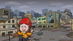 A Happy Girl Ready To Eat Her Roasted Chicken At A Ghost City After A Disaster :  A girl with brown hair wearing a red beanie orange with yellow jacket dark gray pants dark red with white sneakers sits on a piece of log as she smiles in delight and holds a fork and knife in her hands as she stares at the roasting chicken that she cooked using a do it yourself rotisserie and a fire pit made of rocks. Set in a gloomy empty and sad looking district with broken buildings destroyed streets after…
