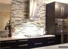 white countertop espresso kitchen cabinet gray glass mosaic backsplash tile