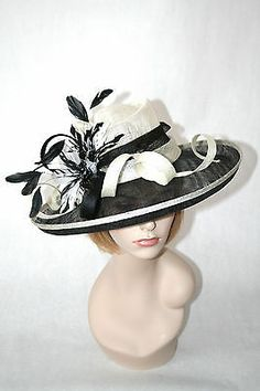Church Kentucky Derby Sinamay Black White Wide Brim Dress Hat