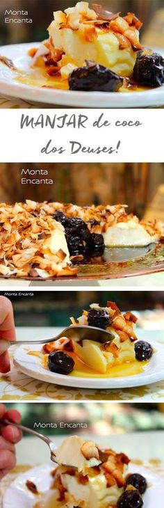 Manjar dos Deuses com coco queimado e calda de ameixa sem forno. Manjar de coco de maria mole, sobremesa prática e saborosa!