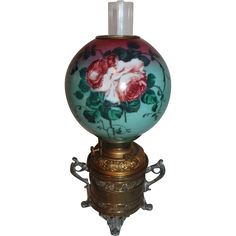 Wonderful Bradley & Hubbard Gone with the Wind Banquet Kerosene Lamp ~  1900- 1915 ~ Museum Quality
