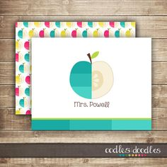 Teacher Personalized Stationery / Apple Note Cards   Printed or Printable   OandD.etsy.com