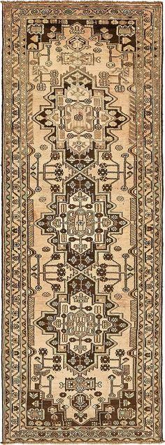 Beige 3' 7 x 10' Hamedan Persian Runner Rug | Persian Rugs | eSaleRugs