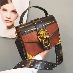 Discount This Month Luxury Famous Brand Shoulder Bags Female Lion Head Lock Handbag Women PU Leather Messenger Crossbody Bags Fashion Party Clutch Luxury Handbags, Fashion Handbags, Purses And Handbags, Fashion Bags, Cheap Handbags, Popular Handbags, Handbags Online, Tote Handbags, Summer Handbags