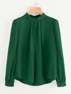 Shop Pleated Detail Button Keyhole Back Chiffon Blouse online. SheIn offers Pleated Detail Button Keyhole Back Chiffon Blouse & more to fit your fashionable needs. Long Sleeve Tops, Long Sleeve Shirts, Plain Tops, Spring Shirts, Cultura Pop, Green Fashion, Blouse Designs, Blouses For Women, Fashion Outfits