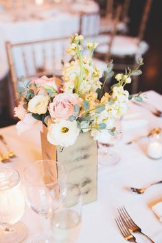 boxed centerpieces // photo by First Mate Photo Co. // view more: http://ruffledblog.com/elegant-massachusetts-wedding