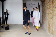 Shorts suit & slides...so cool. E. Tautz Spring/Summer 2013 London Fashion Week.