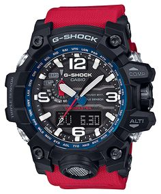 G-Shock Master of G Rescue Red series 2016 G Shock Watches Mens, Sport Watches, Cool Watches, Watches For Men, Casual Watches, G Shock Mudmaster, G Shock Men, Shock Wave, Casio G-shock