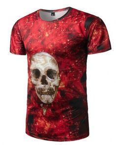1beafdf212a9 Flame skull t shirt for men red 3d tee short sleeve 3d T Shirts