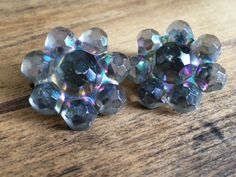 Vintage Clip On Iridescent Bead Earrings * Clip-On * Black * 1950s * 1960s * Made in Austria