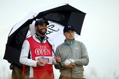 Jordan Spieth of the United States looks on from the 6th tee with caddei Micahel Greller during the final round of the 144th Open Championship at The Old Course on July 20, 2015 in St Andrews, Scotland.