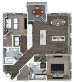2 bedroom 2 bathroom floorplan at 555 Ross Avenue Apartments in Dallas, TX.