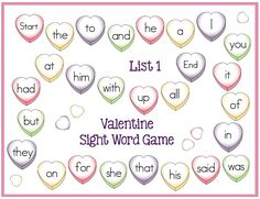 FREE Valentine sight word game boards.  Fun February center activity.