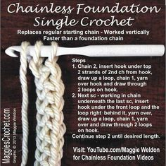 Chainless Foundation single Crochet Directions  with video link. maggiescrochet_chainless_foundation_crochet_01: