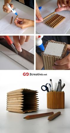 If you use regular sized pencils, just glue them around a thick wooden or foam block so that the pens/pencils in the cup stick out :)