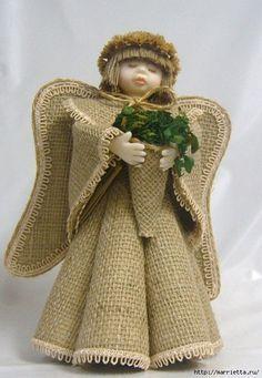 Materiales gráficos Gaby: Ángeles de tela de arpillera rústica incluye plantilla