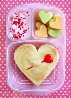 Aww def doing this for Brody!! Valentine Lunch. I love the touch of sprinkles on yogourt or apple sauce. Extra special.
