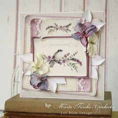 A purple card with the Scent of Lavender paper collection