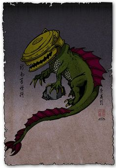Waniguchi- Japanese myth: a bell gong that is rung to worship a shrine's god. As a yokai, the gong acts as a head to a crocodile-like body.