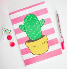 Exciting DIY Notebook Decorating Ideas - My list of best Diy and Crafts Simple Canvas Paintings, Small Canvas Art, Easy Canvas Painting, Mini Canvas Art, Diy Canvas, Diy Painting, Diy Notebook Cover, Diy Back To School, Cool Notebooks