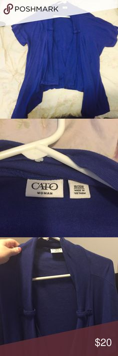 Blue short sleeve open front drapey cardigan Cute short sleeve open-front cardigan from Cato Woman. In great condition, worn once. Blue with cute buttons on the front for decoration. 18/20w Cato Tops Sweatshirts & Hoodies