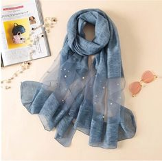 Europe fashion new scarf handmade bead pearl silk wool solid color scarves summer air conditioning shawl wrap Color Combinations For Clothes, Europe Fashion, Fashion 2018, Dress Fashion, Diy Fashion, Loose Fit Jeans, Designer Scarves, Scarf Design, Summer Scarves