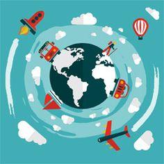 [フリーイラスト素材] イラスト, 旅行 / トラベル, 乗り物, 地球, バス, 車 / 自動車, 航空機 / 飛行機, ロケット, 気球, ヨット, 雲, EPS ID:201410230900