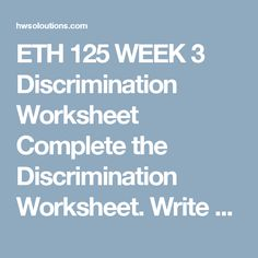 Eth 125 stereotypes and prejudice worksheet