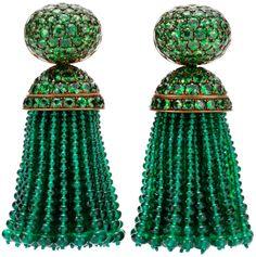 Hemmerle emerald and tsavorite tassel earrings.  Via Diamonds in the Library.