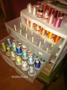 Storage: Now that's a thread storage SOLUTION! Could use golf tees so there is no cutting.Thread Storage: Now that's a thread storage SOLUTION! Could use golf tees so there is no cutting. Thread Storage, Sewing Room Organization, Craft Room Storage, Drawer Storage, Storage Bins, Bobbin Storage, Craft Rooms, Storage Ideas, Organisation Ideas