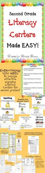 Everything you need to implement engaging literacy centers for second graders in a fun menu format! Also available for K, 1st grade, 3rd grade, and 4th grade