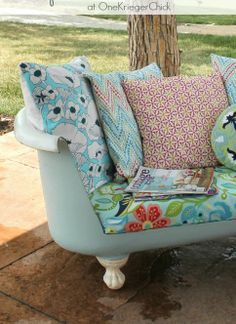 Create this fun DIY outdoor sofa out of an old bathtub. See how!
