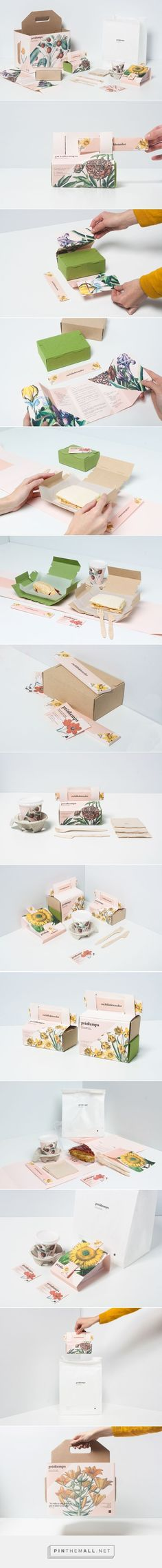 Printemps Take Away Food Packaging by Nat Tattaglia, Olaya Pintado, and Eli García Tea Packaging, Pretty Packaging, Brand Packaging, Product Packaging, Cheese Packaging, Flower Packaging, Packaging Boxes, Beverage Packaging, Packaging Inspiration