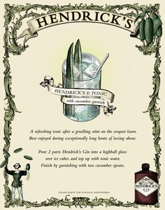Hendrick's Gin and tonic - my absolute favorite drink!