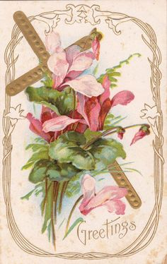 .Vintage Easter Greeting with Christian Cross and Pink Flowers